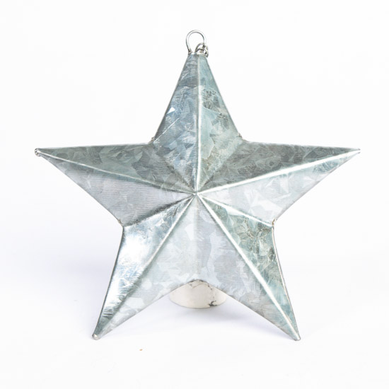 Galvanized Metal Dimensional Barn Star - Christmas Ornaments ...