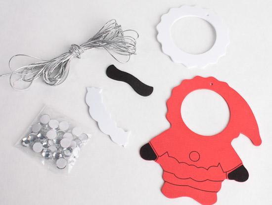 Craft foam santa photo frame ornaments kit kids craft for Photo frame ornament craft