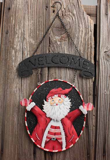 Metal Welcome Christmas Holiday Hanging Sign With Santa
