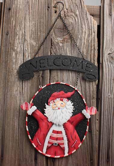 Metal Welcome Christmas Holiday Hanging Sign With Santa