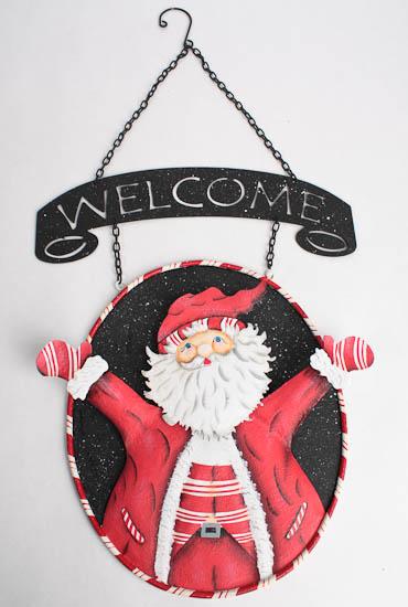 Metal Welcome Christmas Holiday Hanging Sign with Santa ...