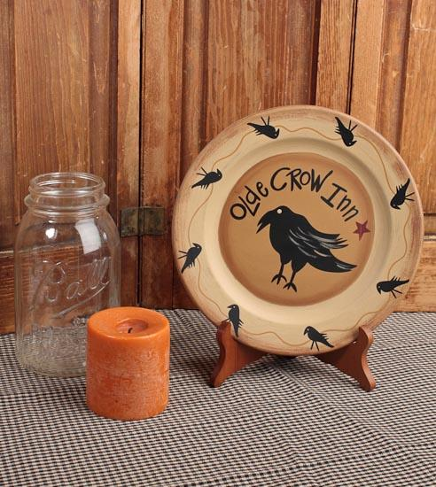 \ Olde Crow Inn\  Primitive Wooden Plate & Olde Crow Inn\