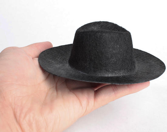 Black flocked cowboy doll hat doll hats doll making for Small cowboy hats for crafts