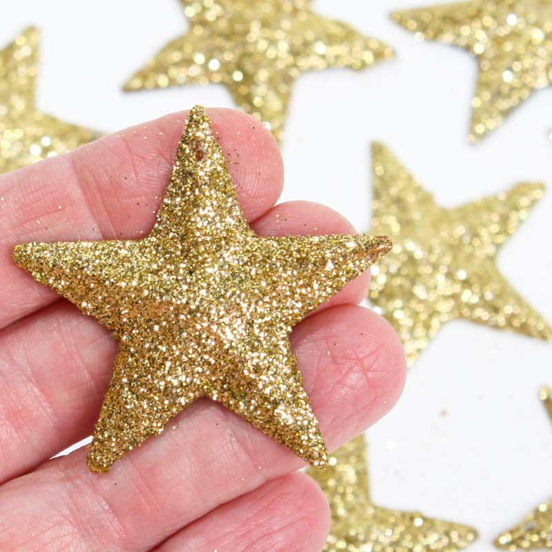 Gold glitter stars table shelf decorations christmas