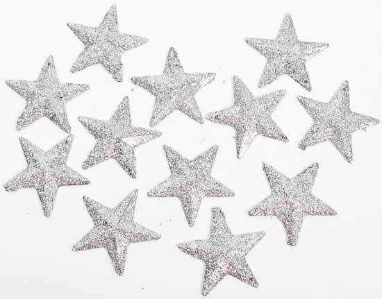 Silver Glitter Stars Table Shelf Decorations Christmas