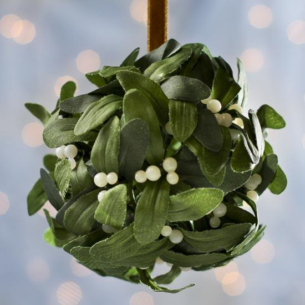 Hanging Artificial Mistletoe Kissing Ball Ornament