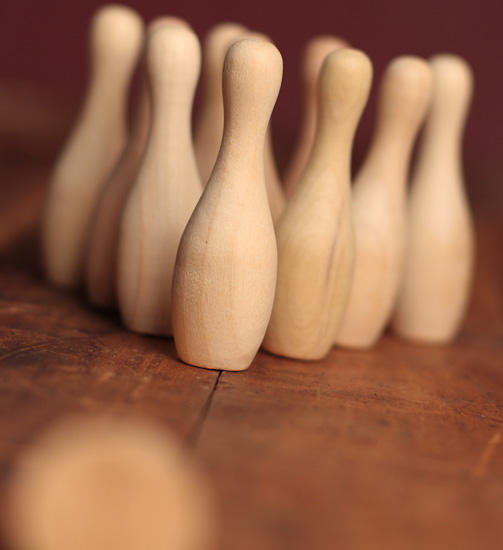 Small Unfinished Wood Bowling Pins