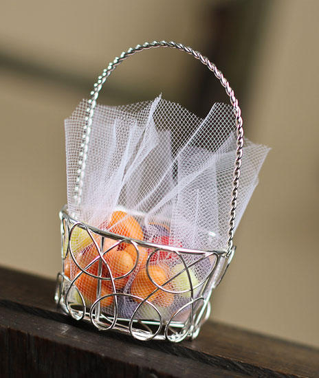 Set Of 8 Round Silver Wire Favor Baskets Baskets Buckets Boxes