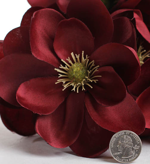 Burgundy Artificial Southern Magnolia Bush Bushes And