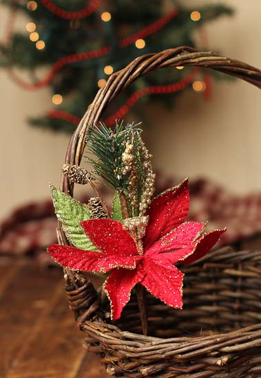 Red Poinsettia And Gold Glitter Floral Picks Holiday