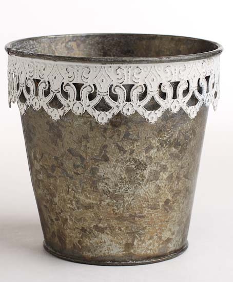 4 1 2 primitive galvanized metal pail with decorative