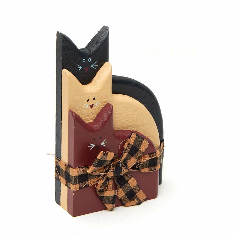 Primitive americana wood cats grouping americana decor for Americana home decor