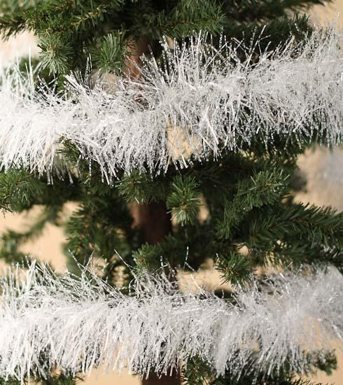 Iridescent white tinsel garland christmas garlands