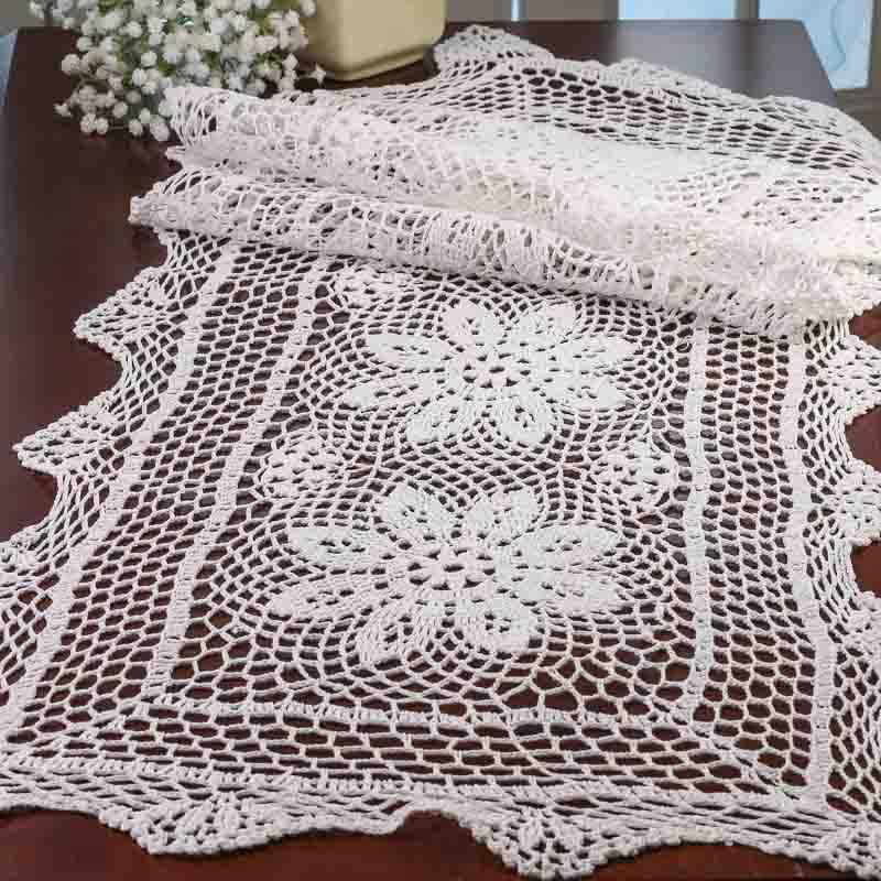 Crochet Doilies : White Crocheted Doily Table Runner - Crochet and Lace Doilies - Home ...