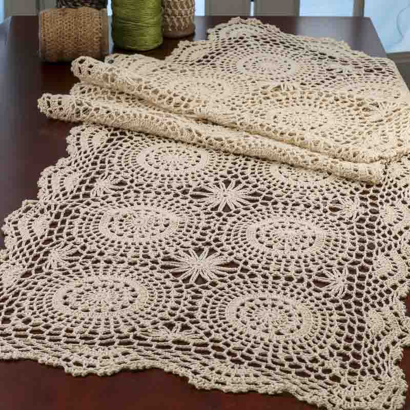 Free Crochet Patterns For Table Doilies : Ecru Crocheted Doily Table Runner - Crochet and Lace ...