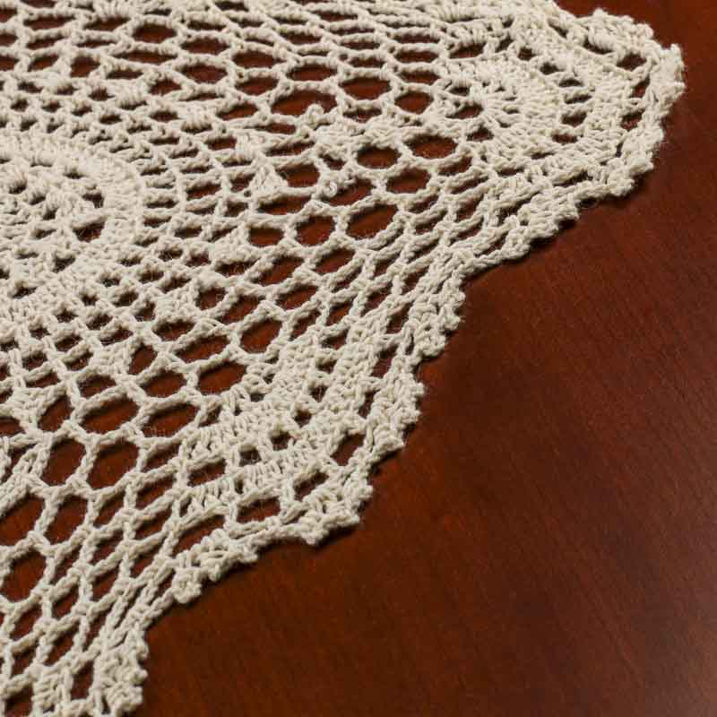 Crochet Table Runner : Ecru Crocheted Doily Table Runner - Crochet and Lace Doilies - Home ...