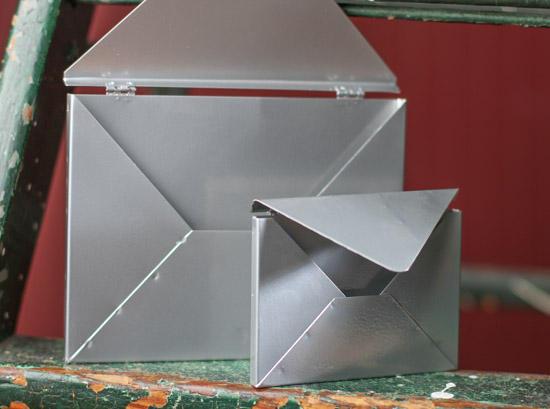 Set Of 2 Tin Metal Envelopes With Hinged Flaps