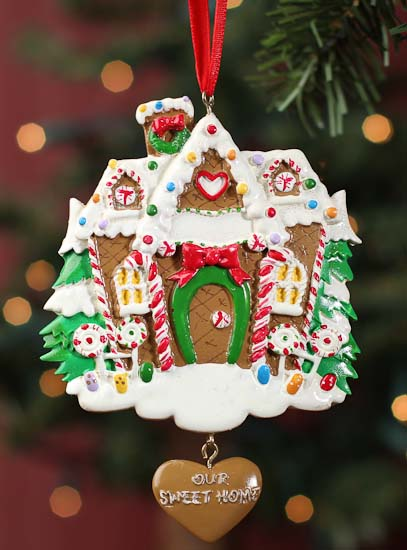 Clay dough gingerbread house ornament ready to personalize christmas