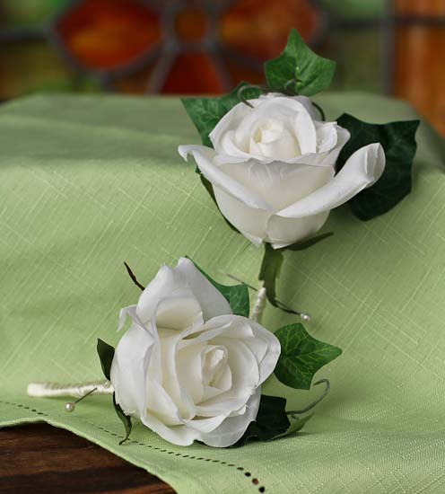 click here for a larger view - Garden Rose Boutonniere