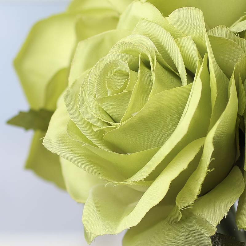 Jade Green Artificial Open Rose Bouquet Bushes And