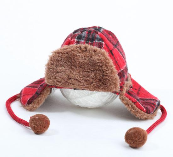 Winter Plaid Fabric Elmer Fudd Trapper Hat Doll Hats