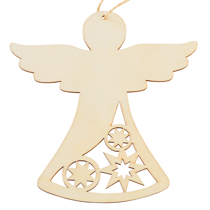 Christmas Ornament Angels From Office Supplies: Unfinished Wood Laser Cut Angel Ornament
