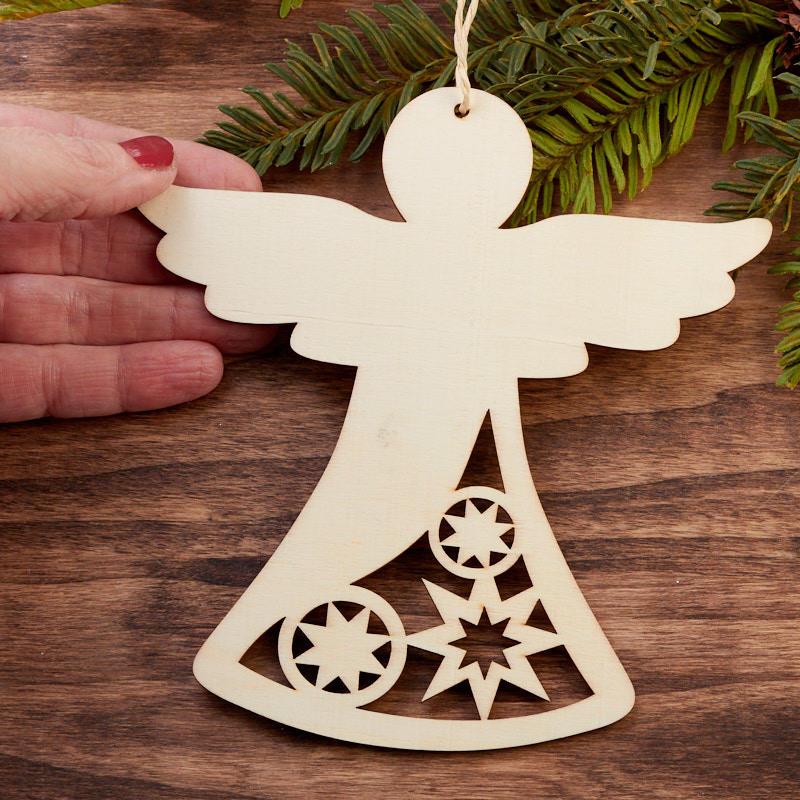 Unfinished Wood Laser Cut Angel Ornament Wood Cutouts