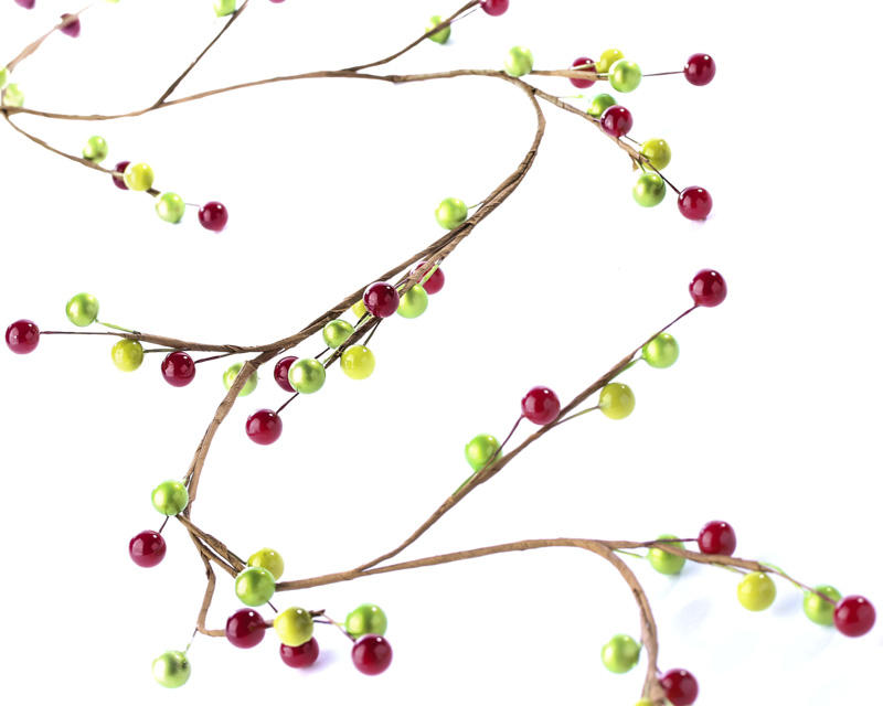 Red And Green Artificial Pearl Berry Garland