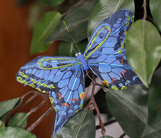 Artificial Blue Feathered Monarch Butterfly Birds