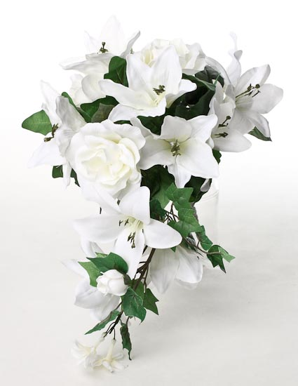White Artificial Lily And Rose Cascading Bouquet Wedding Florals