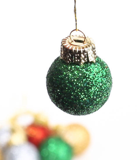 Miniature glitter holiday ornaments christmas