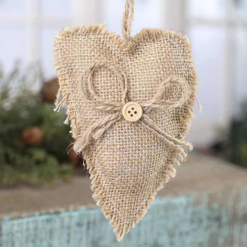 Rustic burlap fabric heart ornament decorative accents for Decorative burlap fabric