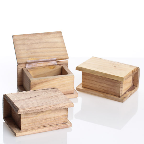 Miniature tea stained wood book chests wood miniatures for Wood craft supply stores