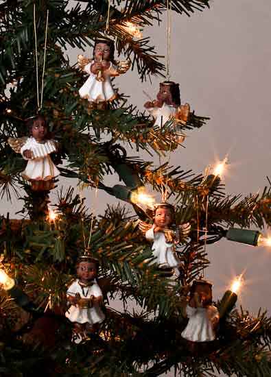Set of 6 miniature african american angel ornaments for American christmas decorations