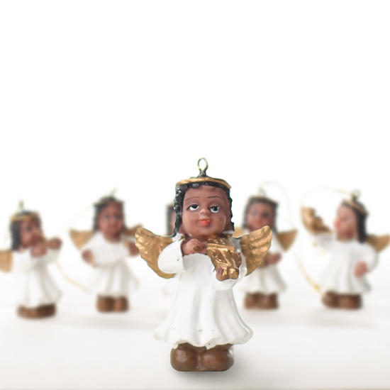 Miniature african american angel ornaments christmas for American christmas decorations