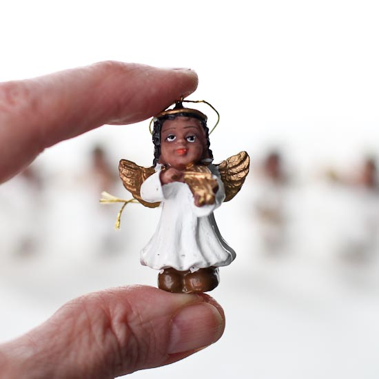 Set Of 6 Miniature African American Angel Ornaments