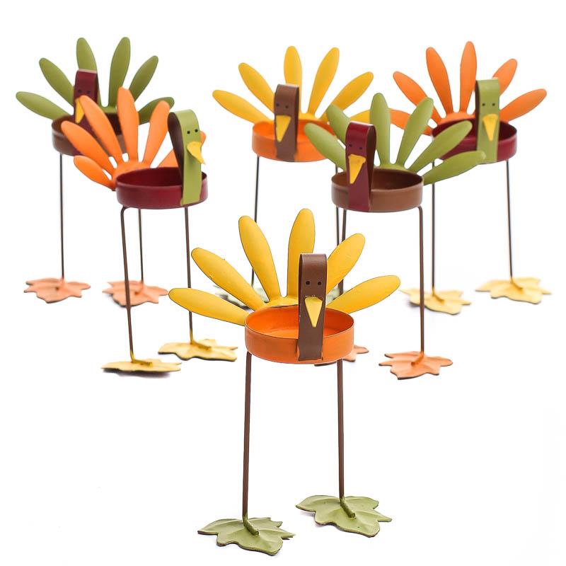 assorted turkey tea light candle holders