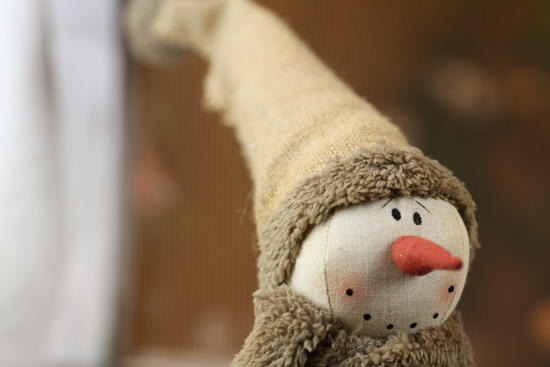 Primitive burlap snowman table decor christmas and for Snowman made out of burlap