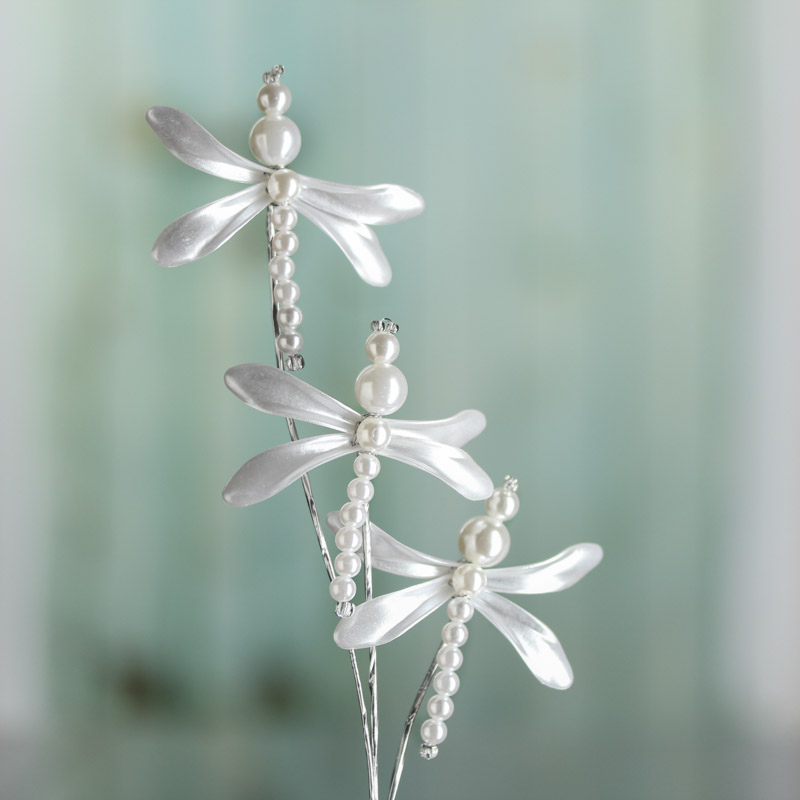 White Pearl Dragonfly Floral Spray - Picks and Stems - Floral ...
