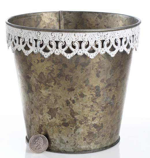 6 1 4 primitive galvanized metal pail with decorative