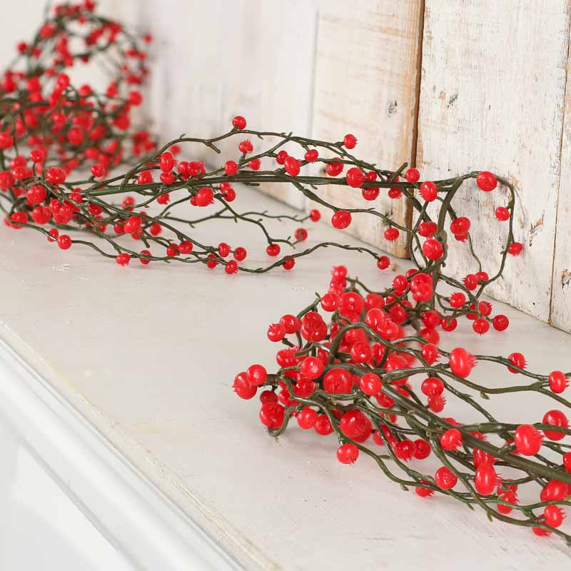Weatherproof Red Artificial Berry Garland Christmas Garlands Christmas And Winter Holiday Crafts Factory Direct Craft