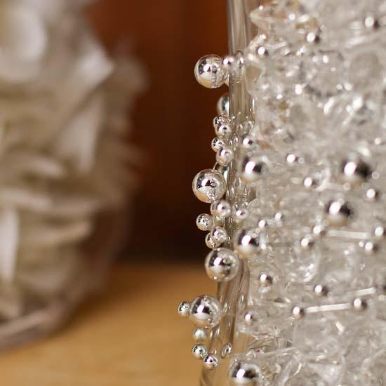 metallic silver beaded wire garland pearl spools basic