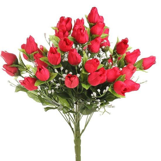 Red Artificial Sweetheart Rose Buds And Baby S Breath