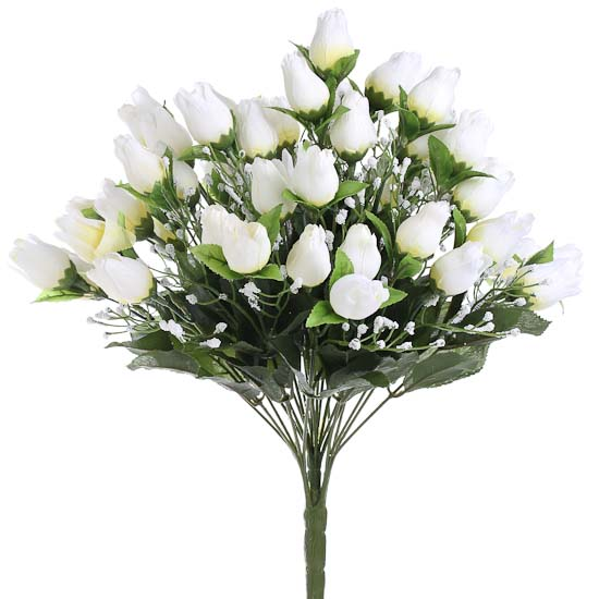 Cream Artificial Sweetheart Rose Buds And Baby S Breath