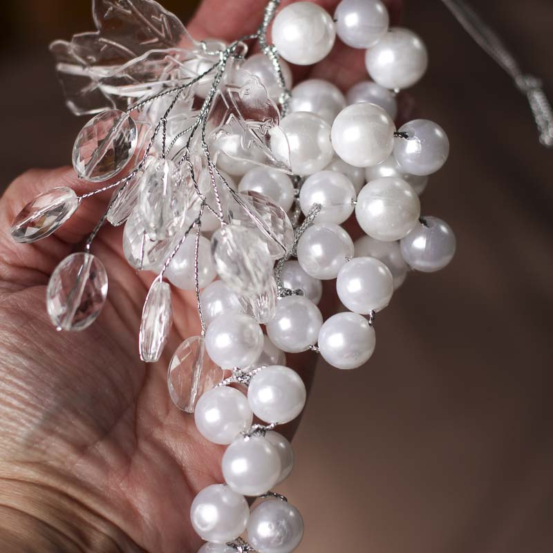 White Acrylic Pearl Grape Cluster Ornament - Christmas Ornaments ...