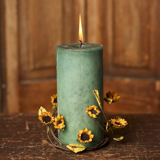 artificial sunflower candle ring candles and accessories home decor. Black Bedroom Furniture Sets. Home Design Ideas