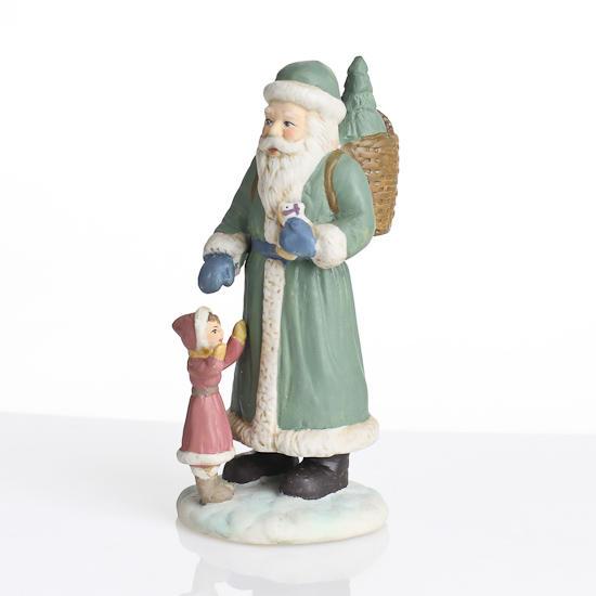 Quot ceramic santa with child figurines set of