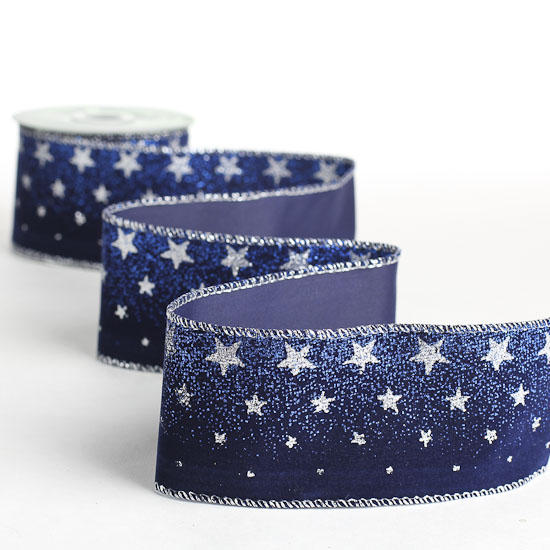 Navy Blue Velvet And Silver Stars Ribbon Ribbons And
