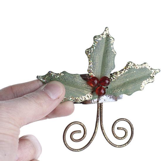 Set of christmas holly metal napkin rings