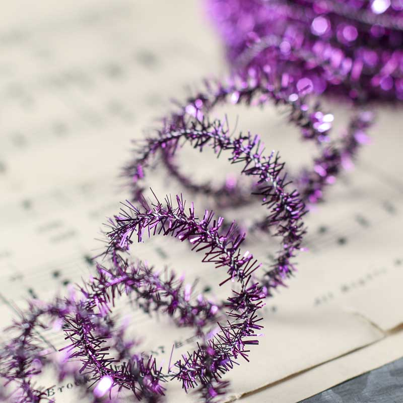 Purple pipe cleaner tinsel garland